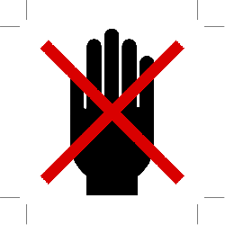 no admittance, do not touch, hand, prohibited