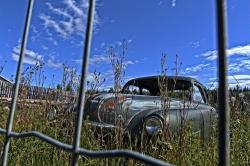 old car, old timer, vintage, hdr, chicken wire, fence