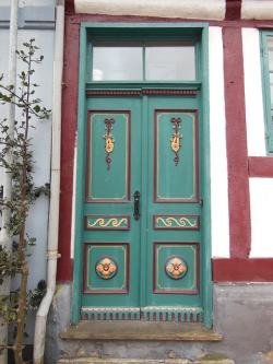 old door panels, painted, decorated, floral ornaments