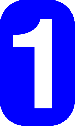 one, blue, white, number, rounded, rectangle, round