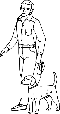outline, boy, man, guy, person, cartoon, dog, stand