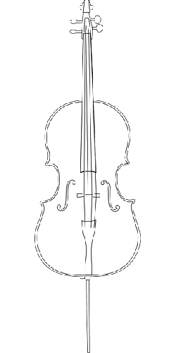 outline, drawing, bass, musical, cello, string