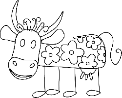 outline, flowers, cartoon, cow, cattle, animal, with