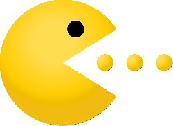 pac-man, pacman, dots, game, yellow, eating