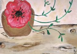 paint, image, poppy, flower, red, draw, painting