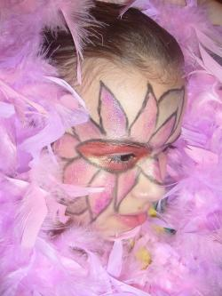 painting, face, feathers, pink
