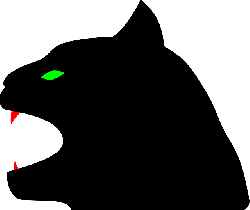 panther, black, cat, head, evil, silhouette