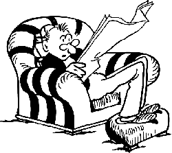 paper, newspaper, man, guy, reading, chair, person