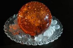 paperweight, crystal ball, colored, orange, decoration