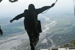 parachutist, parachuting, jumping out of plane