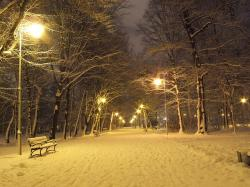 park, winter, night, lanterns, snow, light, spacer