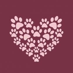 paw print, paw prints, heart, cute, pink, burgundy