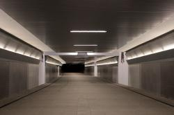 pedestrian tunnel, walkway, lights, lighting