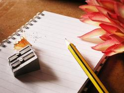 pencil, notebook, writing, notes, paper, flowers, write