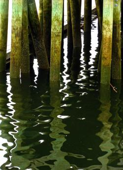 pier, poles, mirroring, reflection, water, ocean