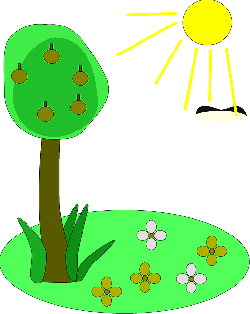 plants, sun, tree, flowers, cartoon, free, summer