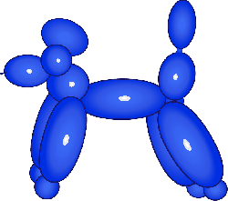 poodle, dog, balloon, animal, clown, kids, party, blue