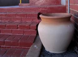 pot, clay, large, cream colored, terracotta edge