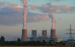 power plant, industry, brown coal, steam, twilight