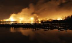 pulp and paper mill, finland, night, evening, smoke