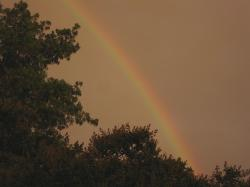 rainbow, arc, colorful, multi-coloured, glowing, storm