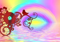 rainbow, bird, color, kringel, lines, background