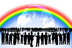 rainbow, children, play, many, friendship, worldwide