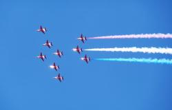 red, arrows, sky, airshow, education, aircraft, jet