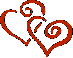 red, black, two, outline, cartoon, double, heart, love
