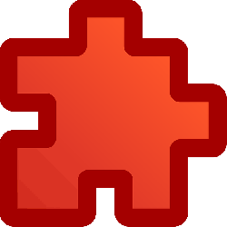red, flat, icon, puzzle, piece, puzzles