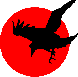 red, silhouette, cartoon, bird, crow, flying, free