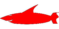 red, simple, silhouette, cartoon, shark, smile