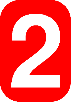 red, two, white, number, shape, rounded, rectangle