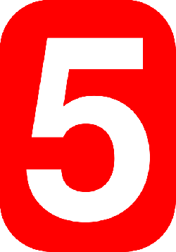 red, white, five, number, shape, rectangle, background