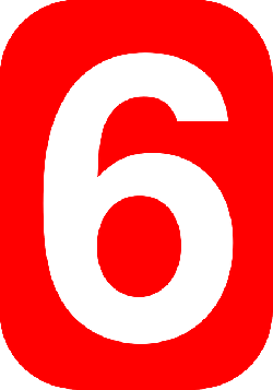 red, white, number, rounded, six, rectangle, round