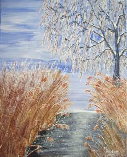 reed, tree, bank, water, bach, river, painting, image