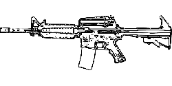rifle, automatic gun, weapon, arms, silhouette, gun