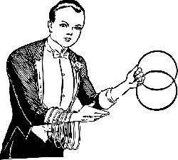 rings, outline, man, male, magician, trick, linking