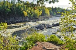 river, flowing, landscape, strong, powerful, taiga
