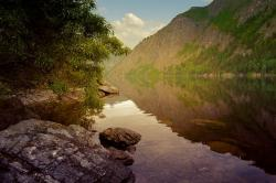 river, mountains, water, wood, leaves, night, landscape