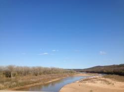 river, oklahoma, blue sky, water, sand, nature