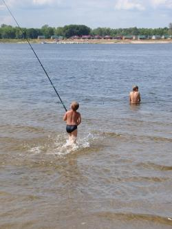 river, volga, kids, bathe, rod, spray, wave