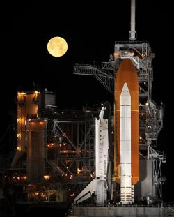 rocket launch, night, space shuttle, launch pad