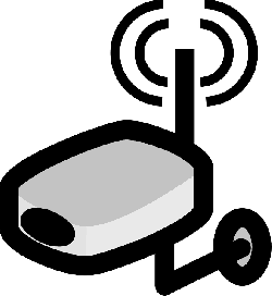 router, video, flat, icon, wireless, cartoon, security