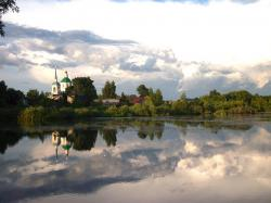 russia, lake, water, reflections, village, church