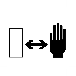 safety distance, hand, sign, symbol, icon
