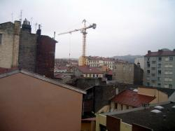 saint etienne, city, crane, district, buildings