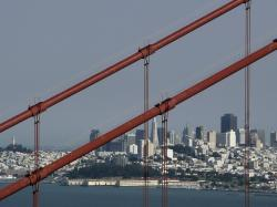 san francisco, city, california, usa, steel cable