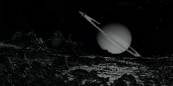 saturn, space, science fiction, lunar landscape