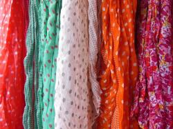 scarves, polka dot, floral, colorful, red, white